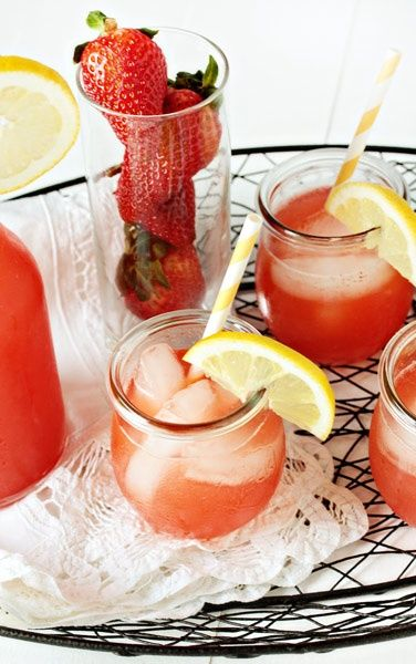 Homemade Strawberry Lemonade It's best if you let it sit for a couple ...