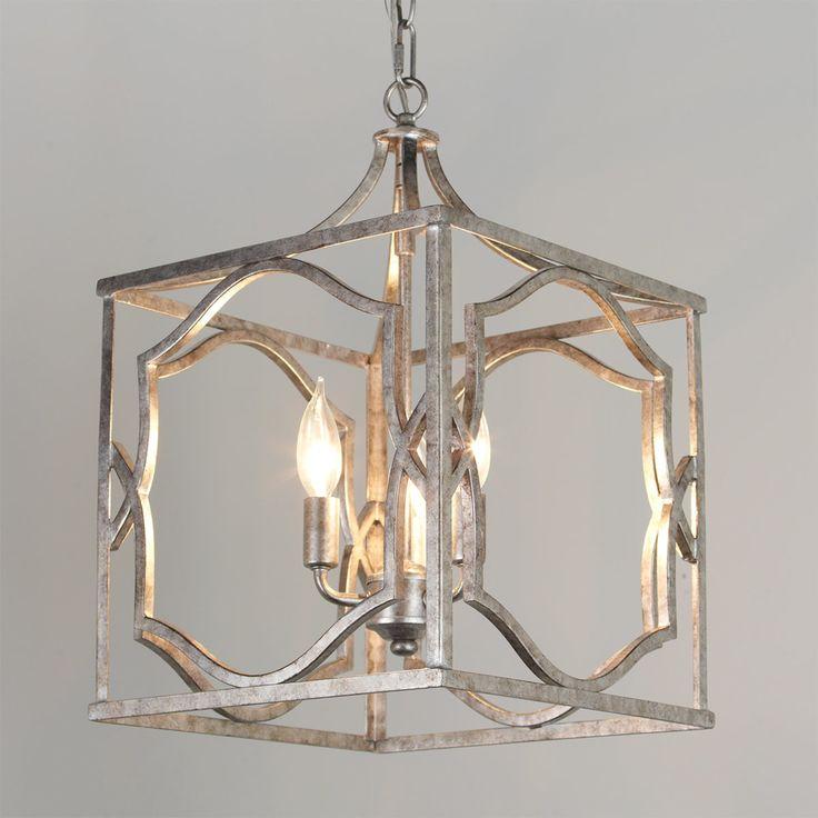 Small Modern Fretwork Frame Lantern antique_silver