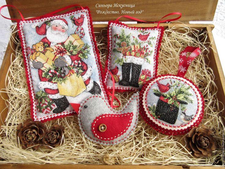 """Купить Набор 4 шт. елочных игрушек из фетра и ткани """"Рождество, Новый год"""""""