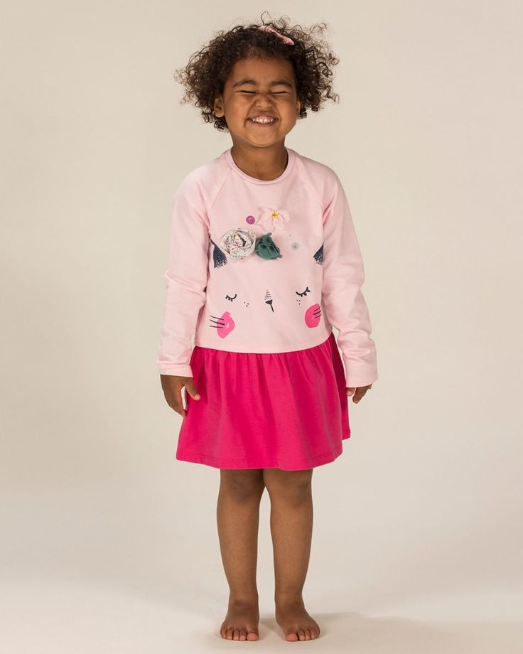 Our long sleeve Fairy Cat jersey dress for girls creates a perfect kitten soft fun look for your little one.  Supersoft jersey fabric Fairy Cat Novely Face motif Exquisite corsage flower detail 100% Superfine Cotton Long-sleeves