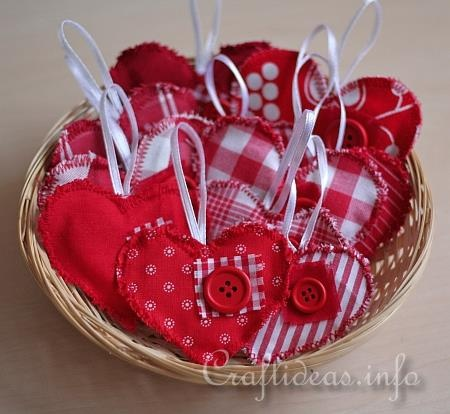Fabric Hearts Ornaments 5 Valentine Crafts Pinterest
