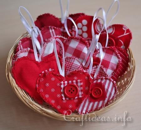 Fabric Hearts Ornaments 5 Valentine Crafts Pinterest