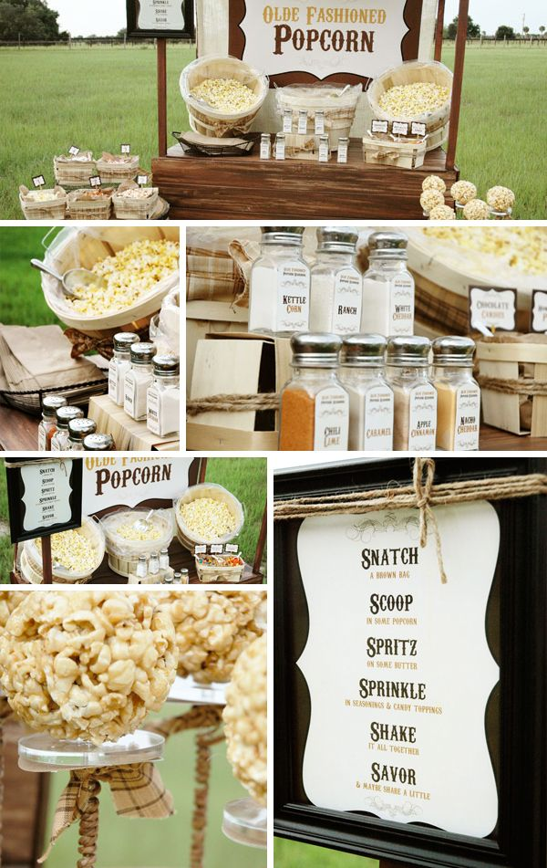 A popcorn station - so inexpensive and so adorable. I really hope I can do something simple like this and save some money on the food situation!