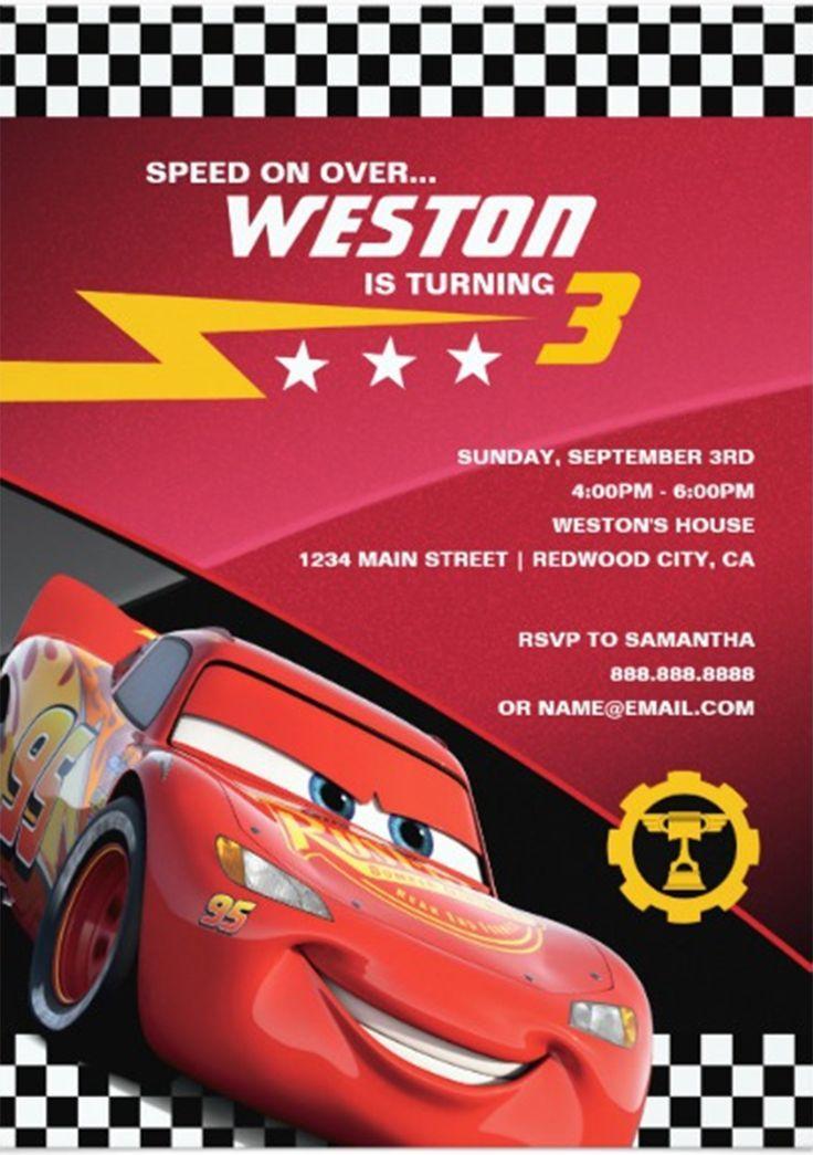 Disney Pixar Cars Lightning McQueen Birthday Party Invitation Ad