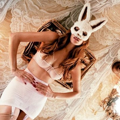 Cecilia Lundqvist white Rabbit mask in Coco de Mer´s valentines campaign!
