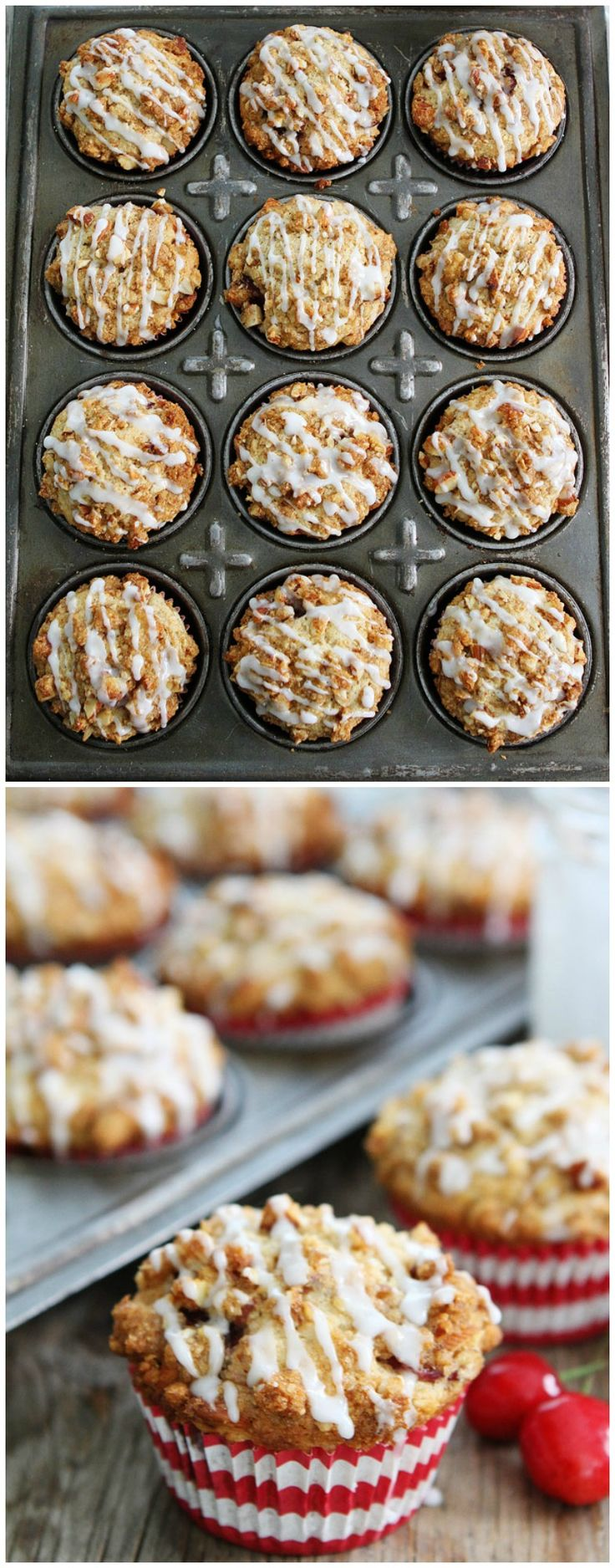 Cherry Almond Streusel Muffin Recipe - Cherry muffins with an almond streusel topping and sweet almond glaze! These muffins make a great summer breakfast treat!