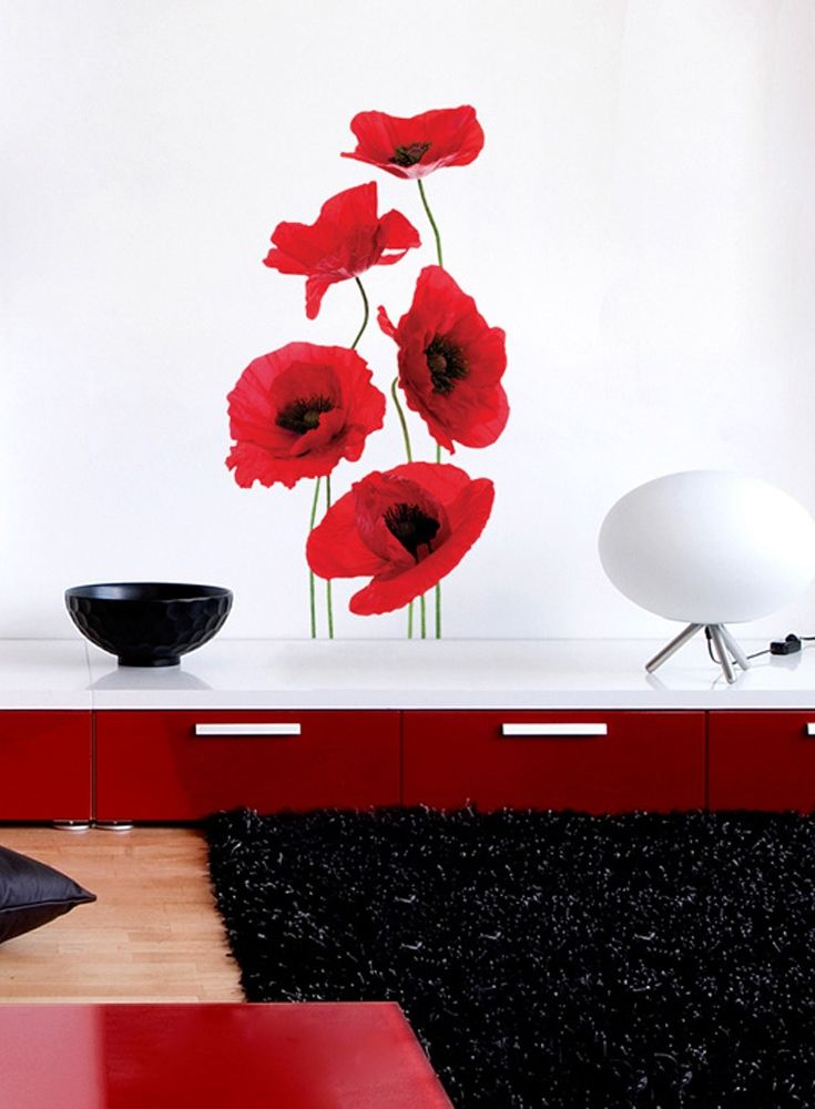 You do not need wall stickers extra large size to achieve breathtaking effect - just check out those fragile wall decal with poppies in red living room!