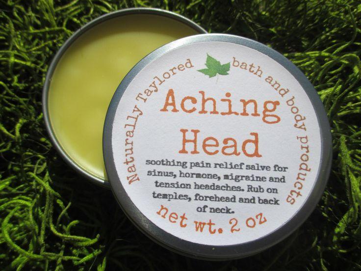 Headache Balm Salve Natural Headache Relief Organic Balm Migraine Relief Sinus Headache Relief Tension Headache Balm Vegan Headache Salve by NaturallyTaylored on Etsy https://www.etsy.com/listing/217836934/headache-balm-salve-natural-headache