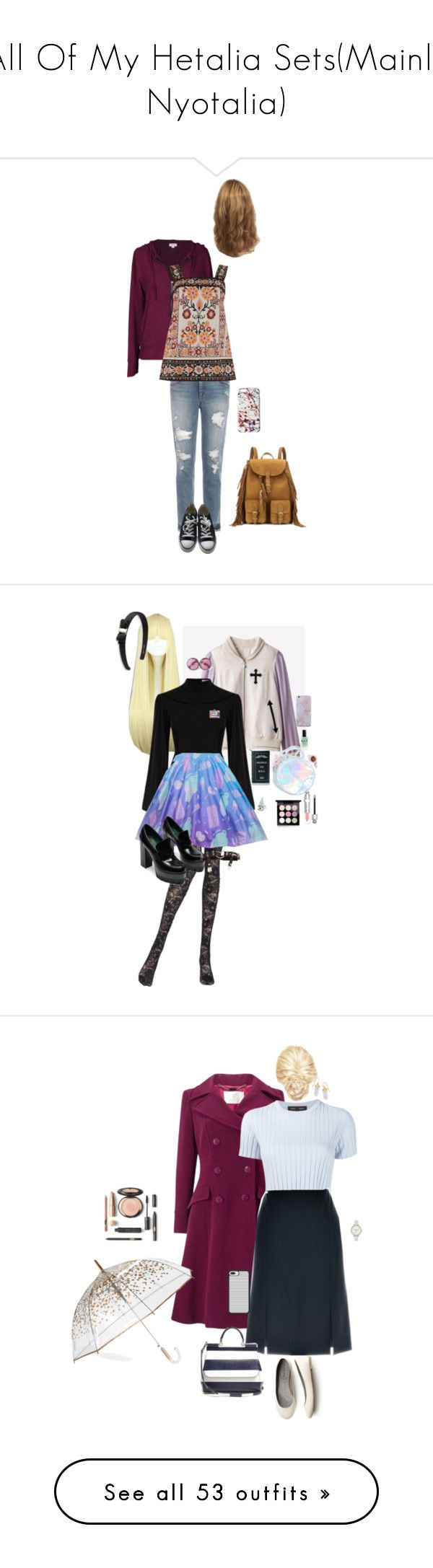 """""""All Of My Hetalia Sets(Mainly Nyotalia)"""" by shaebutter ❤ liked on Polyvore featuring Joe's Jeans, Converse, Velvet by Graham & Spencer, Warehouse, Yves Saint Laurent, Marc Jacobs, Pierre Mantoux, Salvatore Ferragamo, Killstar and Lauren B. Beauty"""