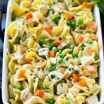 This chicken noodle casserole is diced chicken, veggies and egg noodles all in a…