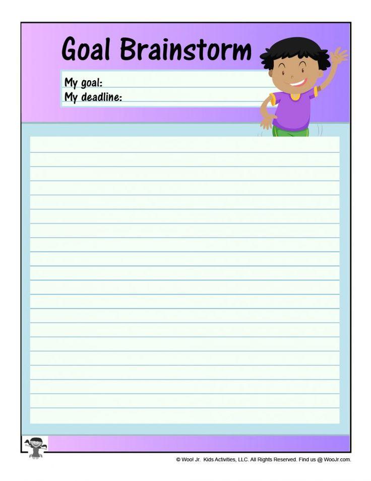 Elementary Goal Setting Brainstorm Worksheet Woo! Jr