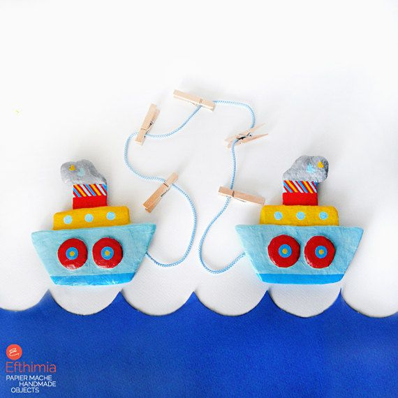 Papier mache boats art & photo display by EfthimiaPapierMache