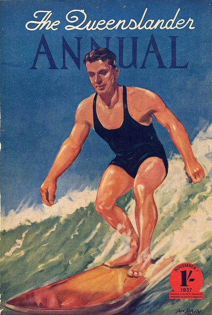 Illustrated front cover from The Queenslander annual, November 1, 1937 Creator: Unidentified Location: Queensland; -24.13, 145.65 Description: Colour illustration of a man surfing.