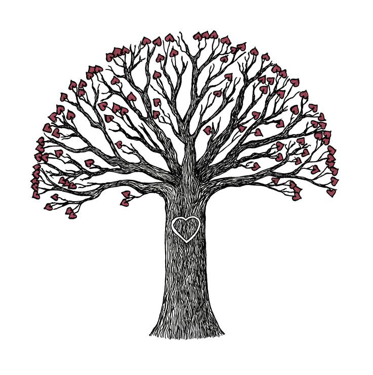 Tree with love hearts. Original Zentangle by Sandy Rosenvinge Lundbye. Copyright 2015.