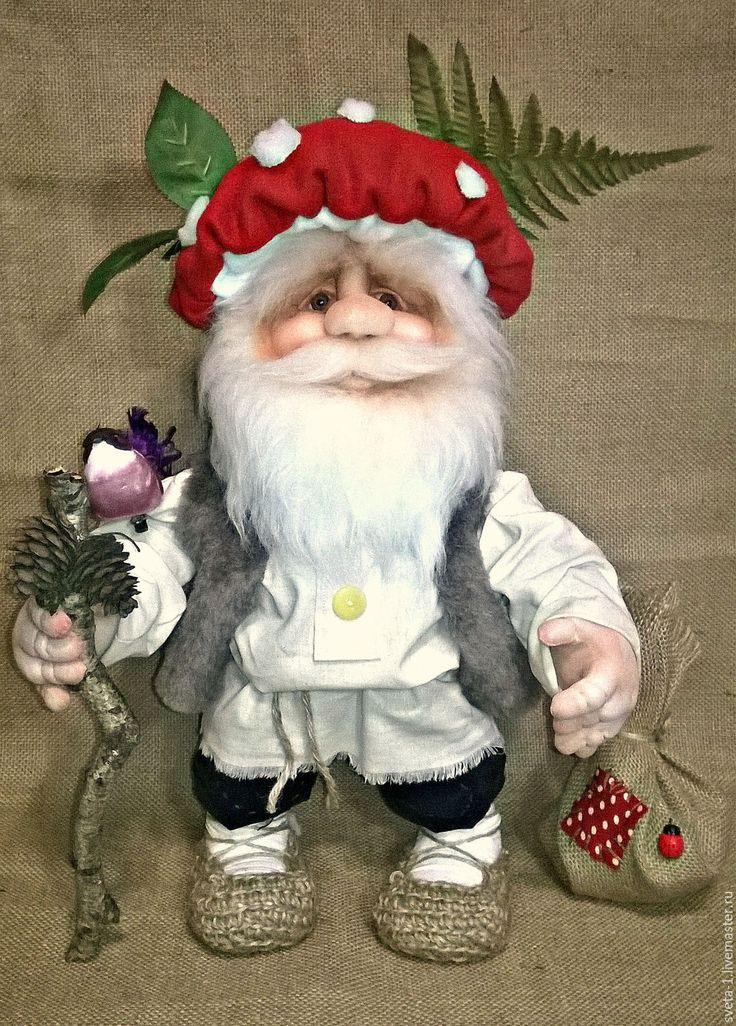 Купить Лесовичок - ярко-красный, лесовичок, интерьерная кукла, капроновая кукла, подарок на любой случай