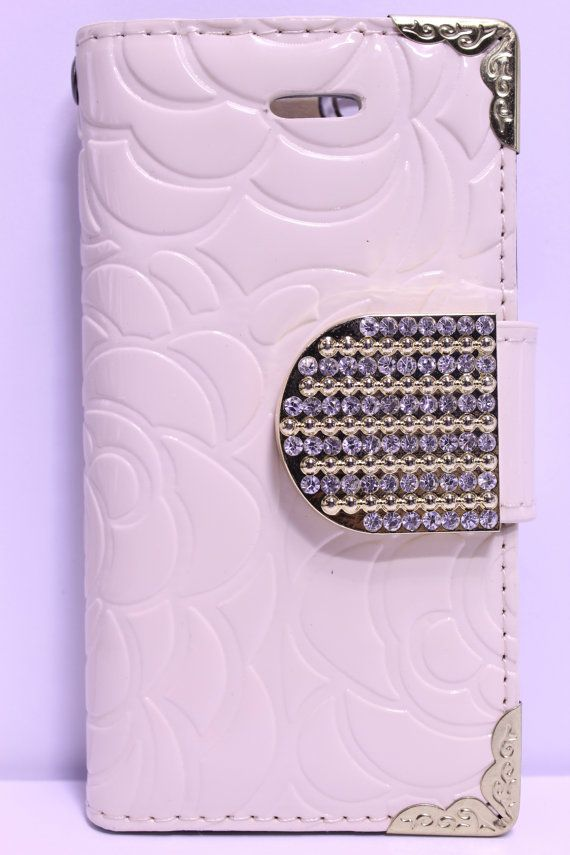 Cream Flower Engraved Design With Gold Rhinestone Strap Diary Wallet Phone Case | Color Option Available