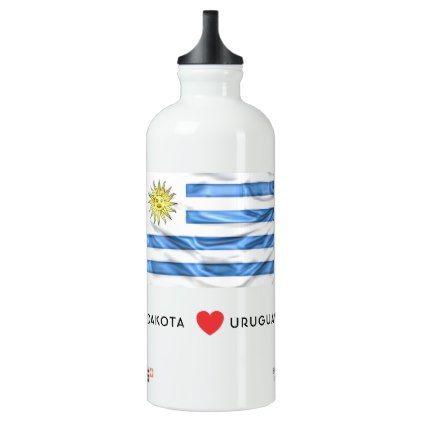 #Custom I Heart Flag of Uruguay Aluminum Water Bottle - #drinkware #cool #special