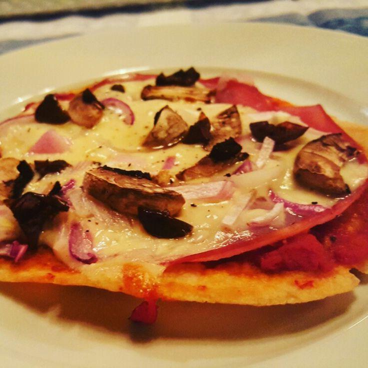 Easy pizza using THIN PITA BREAD by yiayia Tsampika!
