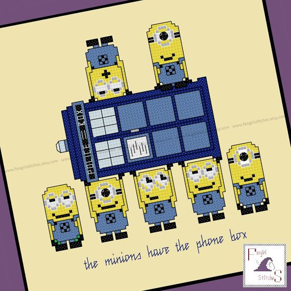 Today's featured #crossstitch pattern:  Minions meet Doctor Who in this #mash-up style cross stitch pattern.  Fabric size: 11 x 11 inches (14 count aida, 28 count evenweave) Finished design: will fit a 7 x 7 inch ... #minion #gru #cartoon #embroidery #tardis #bbc #space