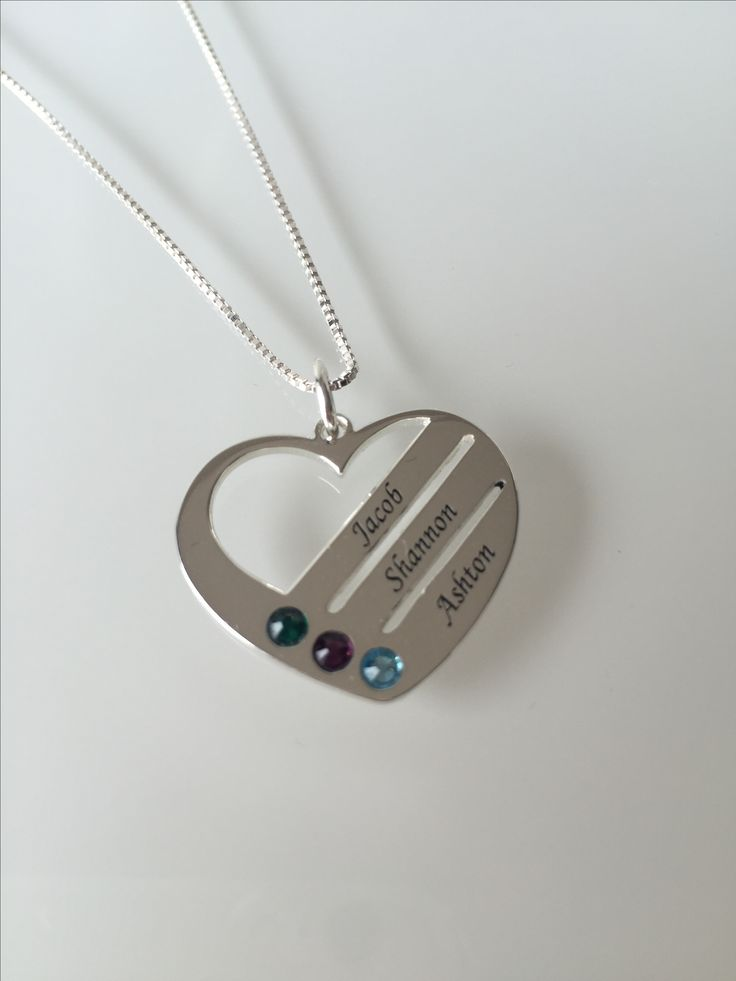 Sterling Silver Family Heart Necklace with Birthstones