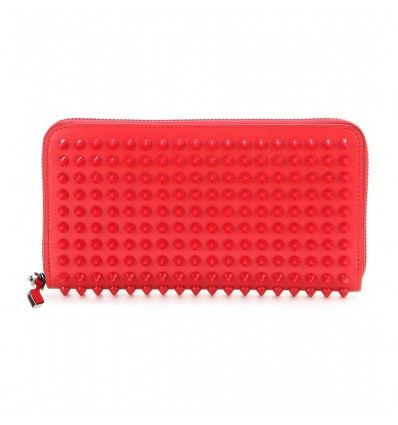 Rotes Lederportemonnaie Panettone Spikes By Christian Louboutin