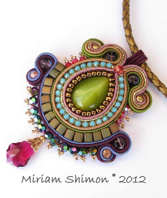 Purple and Green Soutache pendant by Cielo Design, via Flickr