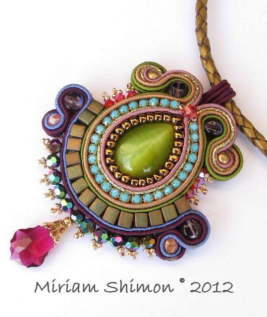 Purple and Green Soutache pendant by Cielo Design, via Flickr