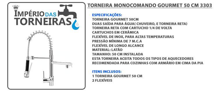 Torneira Monocomando Cozinha Gourmet Spray Móvel 50cm 3303 - R$ 399,90 em Mercado Livre