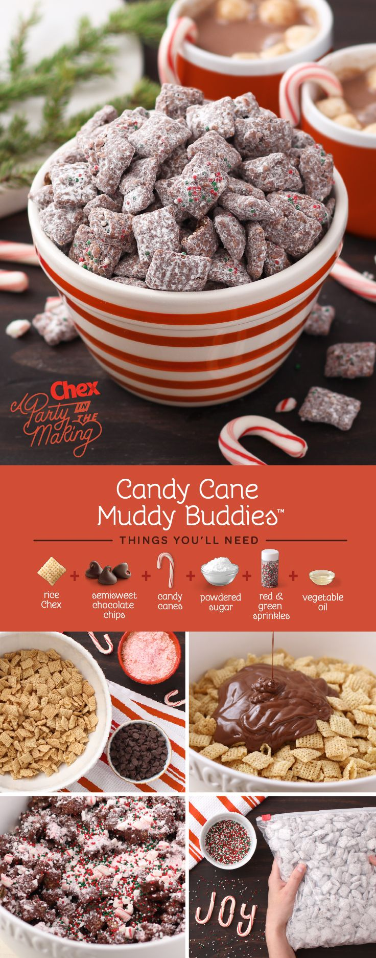 Crushed up candy canes and festive holiday sprinkles are the star of these Homemade Candy Cane Muddy Buddies. Make a batch of these and package it up individually for an easy holiday party favor.