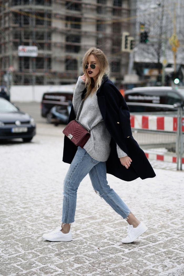 Boyfriend Jeans X Netzstrumpfhose - Shoppisticated