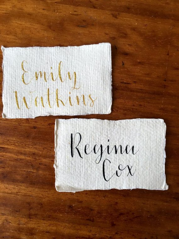Custom Wedding Place Cards Calligraphy by MomentsByRA on Etsy | Rustic Handmade Paper