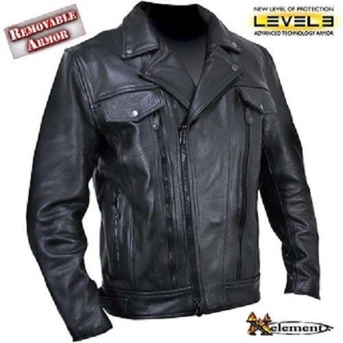 d5b0e6283 Xelement B7018 Mens Armored Black Leather Motorcycle Jacket ...