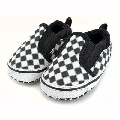 Checker Slip On Shoes : Black / White from My Baby Rocks - baby and toddler shoes www.punkbabyclothes.net