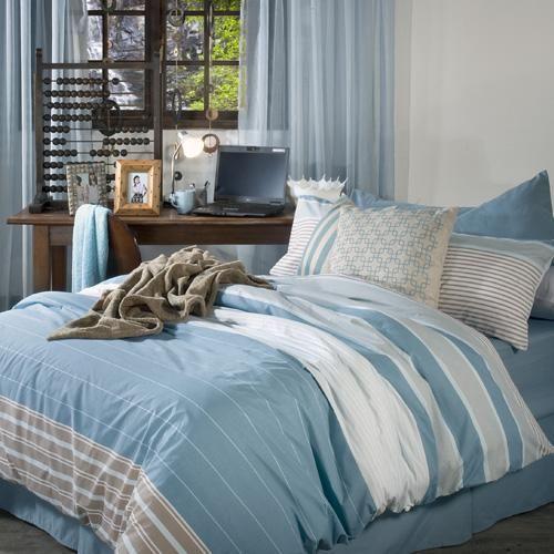 Printed polycotton |Horizontal stripes | Easy care | Matching pillowcase(s) | Machine washable