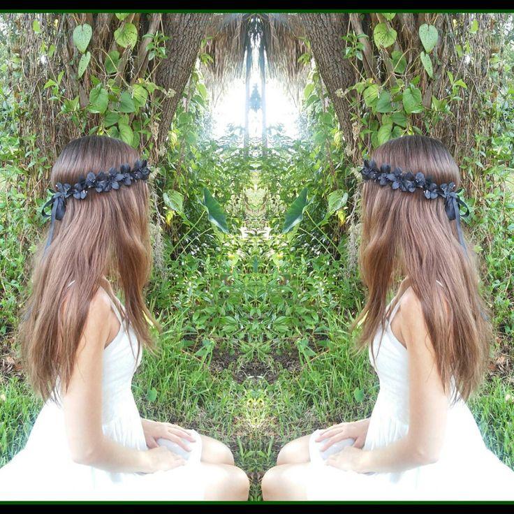 New to dieselboutique on Etsy: Black Flower Crown Flower Headband black flowers rustic  gothic fall crown halo boho gypsy bohemian wedding bridal girl dark (24.99 USD)