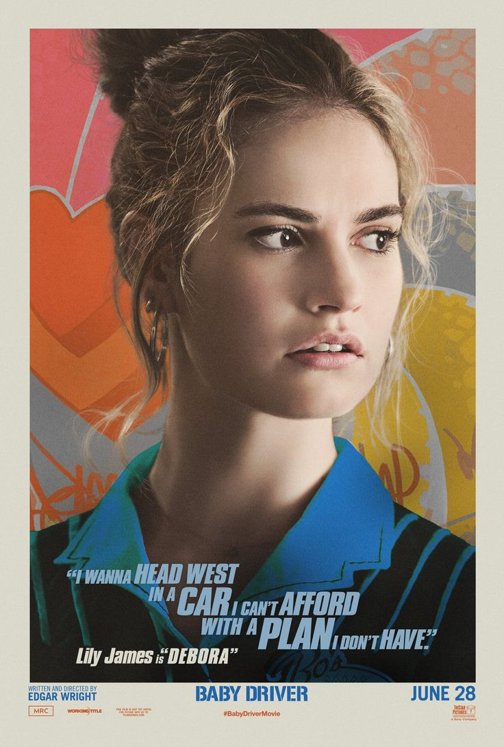 Lily James as Debora in the official character poster for Baby Driver (2017).