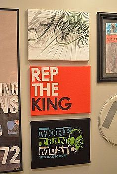 Love this idea- use for memory t shirts!! how to make custom wall art that s easy and cheap, crafts, The finished art hanging on the gallery wall