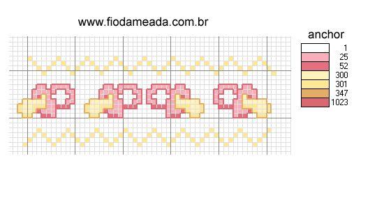 Schema punto croce Bordura Ciucci Rosa