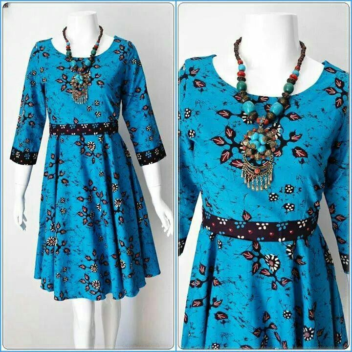 blue batik dress -