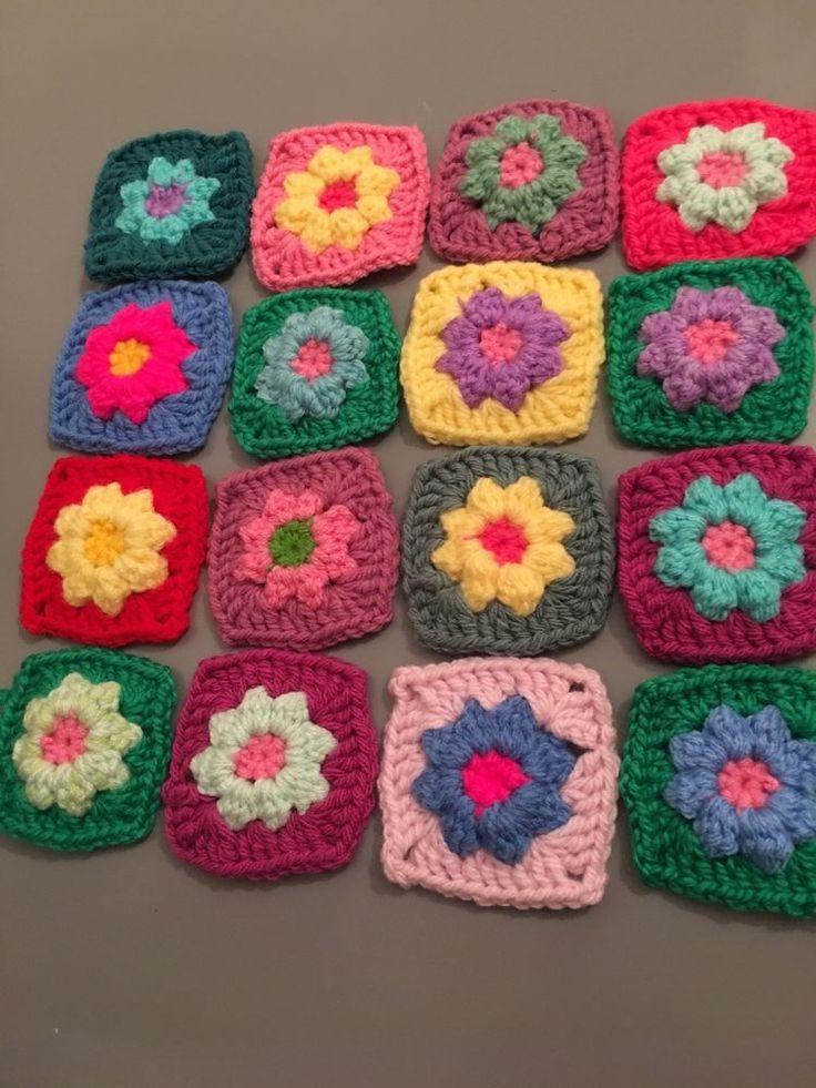 Granny Squares Crochet Flower Pack If 16    | eBay