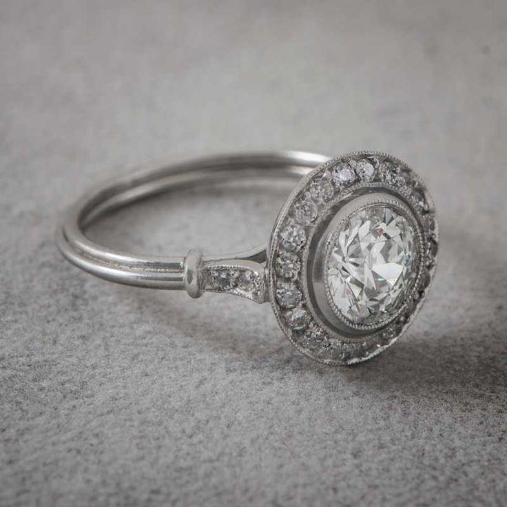 110ct Vintage Diamond Halo Engagement Ring