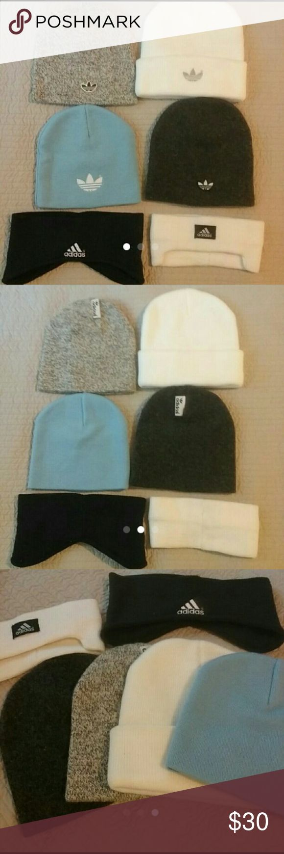 6 Adidas Beanie Caps & Ear Warmers Good used condition. No spots or holes. Price is for all  (Box L) adidas Accessories Hats