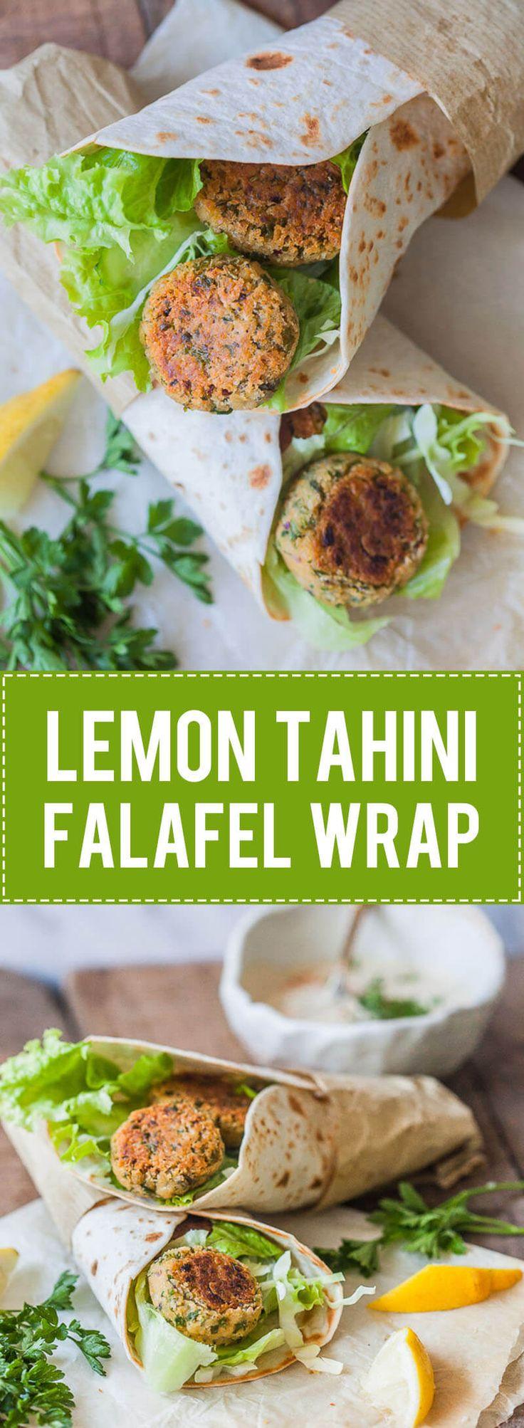 The Easiest Lemon Tahini Falafel Wrap, topped with a delicious Lemon Tahini Sauce is a quick & vegan meal. | www.vibrantplate.com