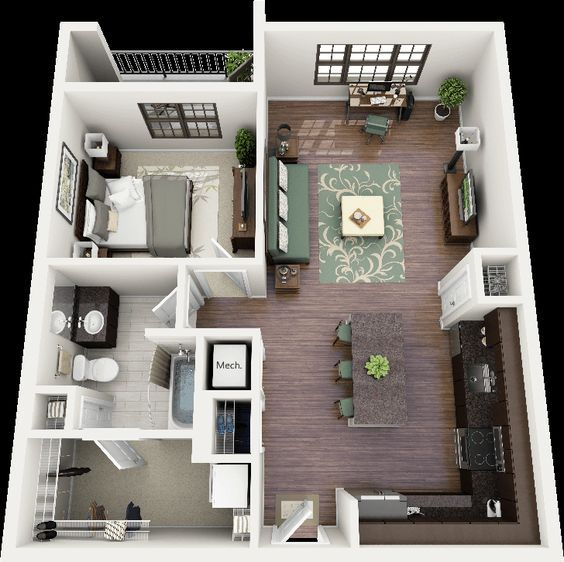 50 One 1 Bedroom Apartment/House Plans | Apartment floor plans, Bedroom  apartment and Layouts
