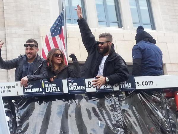 Patriots Victory Parade; Danny Amendola, Danny's girlfriend Kay Adams & Julian Edelman