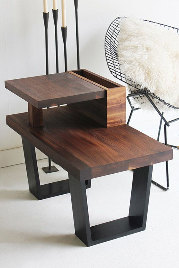 I am in love with this end table.  So unique!  walnut end table wood table walnut furniture by bertucandles, $695.00