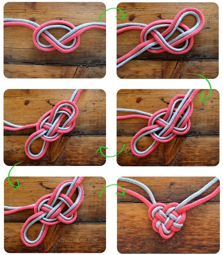 DIY Heart Knot Bracelet. Follow the arrows.