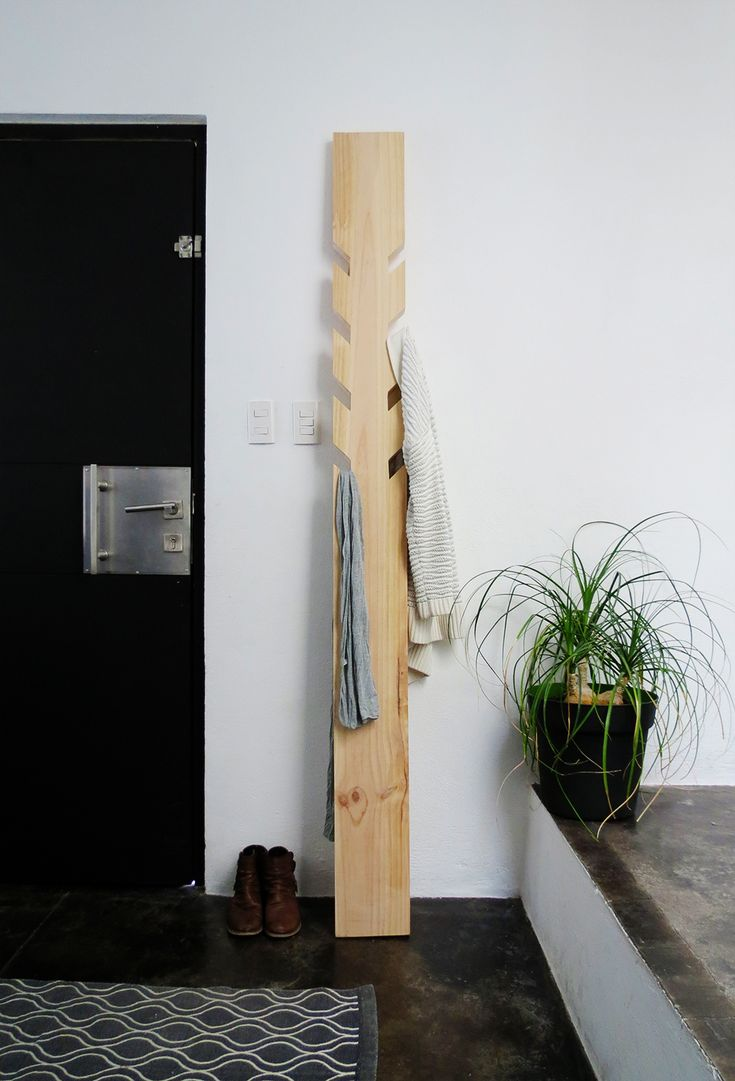 DIY modern coat rack - coat hanger. Ohoh blog for Bob Vila