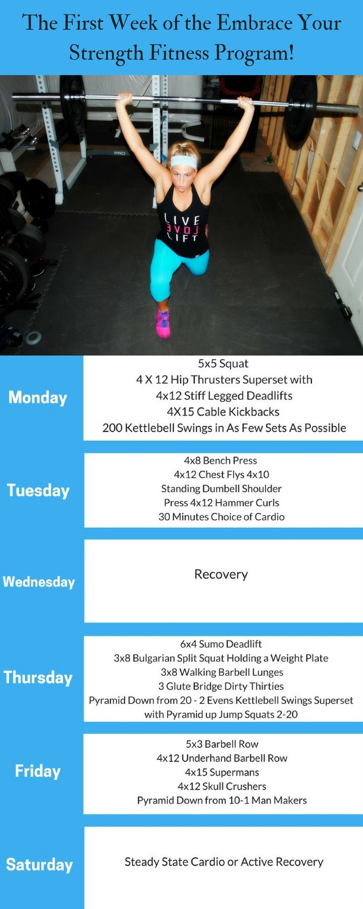 There are 7 more weeks of this fitness program complete with exercise descriptions and pictures, a nutrition section with IIFYM macros or clean eating, fitness motivation, goal setting and more! Click through to buy the full Embrace Your Strength  fitness program.