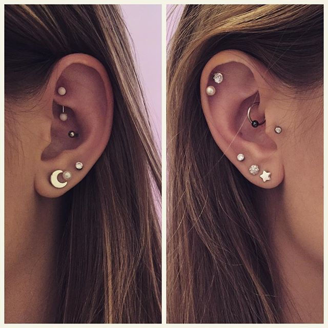 I've officially had a needle stabbed into my body 20 times for fun. Welcome the daith to my piercing collection! #rook #conch #daith #tragus #triplelobe #doublehelix #allthetags